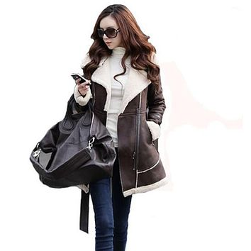 Winter Warm Coats For Women Long Sections Thick Suede Stitching Woolen Coat Female Fashion Popular Cozy Wild Outerwear S700