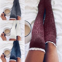 Sexy Women Cable Knit Extra Long Boot Socks Over Knee Thigh High School Girl Socks