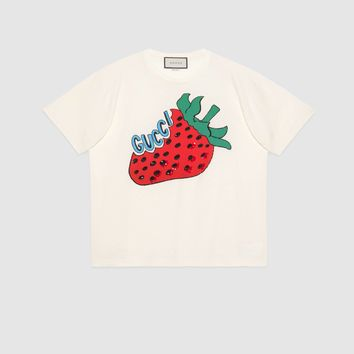 GUCCI cotton T-shirt with strawberry