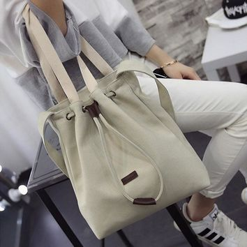 Canvas Handbag Shoulder Messenger Bag New Women's Girls Durable Tote Purse Bags Casual Canvas New Solid 2018 THINKTHENDO