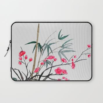 bamboo and red plum flowers  Laptop Sleeve by Colorful Nature