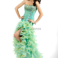 unique floor length prom dresses    stunning organza gowns for party    sweetheart homecoming dress    lace-up back prom dress
