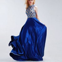 Royal Blue A-Line Prom Dresses New with Beading High Neck Sleeveless Satin Bridesmaid Gowns
