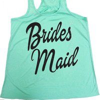 Bridesmaid Tank top, Bride Flowy Tank Top, Tank top set, Maid of Honor, Matron of Honor, Wedding Party tank top, Coral, Mint, Wedding gift