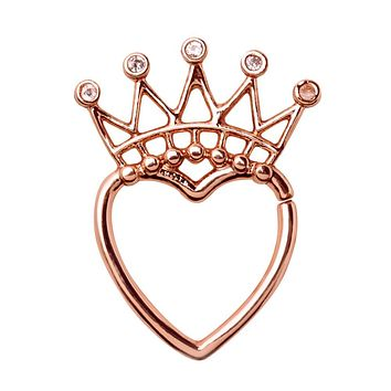 Rose Gold Plated Jeweled Crown Heart Seamless Ring