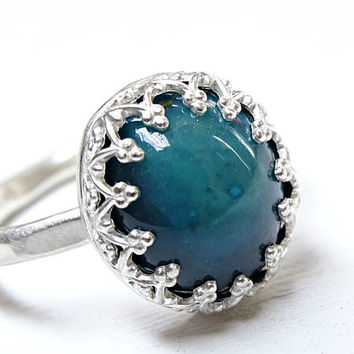 blue gem silica ring, silver gem silica ring, chrysocolla promise ring silver, chrysocolla ring Inspiration mine, crown engagement ring