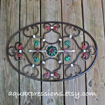 Metal Wall Decor /Scrolls /Wall Fixture /Brown/ Distressed Patio Decor /Painted Bright /Distressed /Outdoor Up Cycled Iron Art