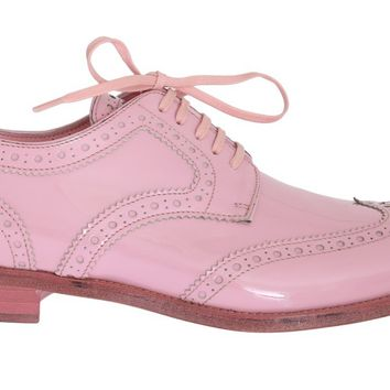 Pink Patent Broques Wingtip Leather Shoes