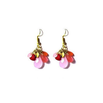 Faceted  Rose Quartz  Earrings ,  Multi - Gemstone Earrings ,  Pink Chalcedony , Carnelian , Red Coral , Gift For Her