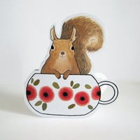 Squirrel in a Teacup Blank Greeting Card