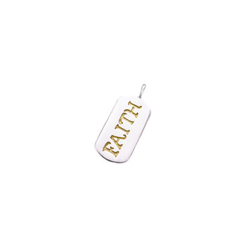 Gotta Have Faith Sterling Silver Gold Dog tag Charm