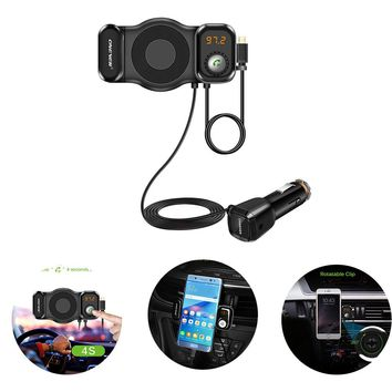 ONEVER T15 2 in 1 Function Smart Phone Holder&FM Transmitter Rotatable Bluetooth Car Kit FM Transmitter MP3 Player Modulator with USB Car Charger Support Siri TF Card DC 12/24V
