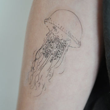Jellyfish Temporary Tattoo, Jellyfish Illustration, Large Temporary Tattoo, Nautical Art, Birthday Gift, Gift Idea, Modern Art