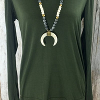 You Had Me at Long Sleeve Top- Olive