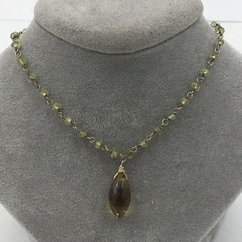 Peridot Natural Citrine Briolette 14K GF Chocker Necklace Vintage