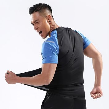 Men Sport Training Short Shirts yoga clothes Running Fitness Workout T-shirt Fitness quick-drying Man Sports Tops Jersey New