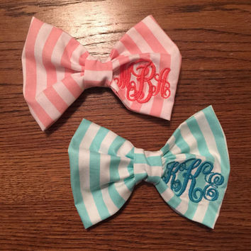 Custom Monogram Bow Tie Hair Bow in Southern Prep Style Stripe-Personalized Gifts