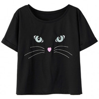Black Cat Face Print Short Sleeve Graphic Tee