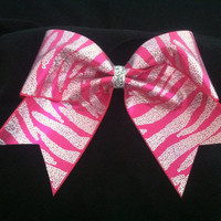 "3"", 3 inch cheer cheerleader bow-BLING fuschia hot pink and silver sequin-look zebra print"