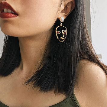 Womens  New Trend Fashion Jewelry Gold Filled Funny Face Earrings