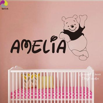 Personalized Name Winnie the Pooh Wall Sticker Decal Baby Nursery 150cmx87cm Custom Name Bear Vinyl Home Decor Mural