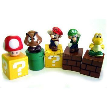 "Super Mario party nes switch Game  Bros Mini Figures Bundle Blocks a Set of 5pcs ~2"" Figures  Goomba Luigi Koopa Troopa and Mushroom AT_80_8"