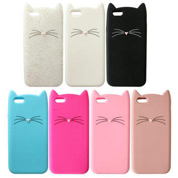 3D Cute Cartoon Cat Soft Silicone Phone  Case Cover for iPhone 6 4.7 inch/5 5G 5S