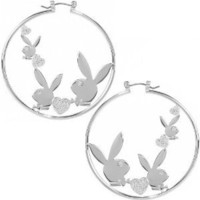 Playboy Earrings Triple Bunny Logo Swarovski Crystal Hearts Hoops Authentic Officially Licensed Jewelry Jewellery