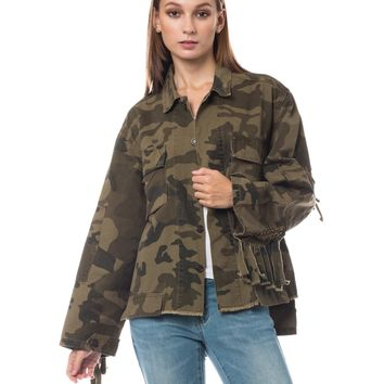 LE3NO Womens Oversized Military Utility Camo Anorak Jacket with Pockets