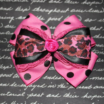 Awesome Little Rockin Rose Bow with Pink Leopard Print , Polka Dots and Lace - Pinup Rockabilly Hair Clip Accessory