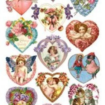 Heart and Valentine Victorian Stickers