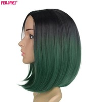 ONETOW Feilimei Black Short Straight Wig 160g African American Females hair Extensions Synthetic Japanese Fiber Ombre Green Bob Wigs