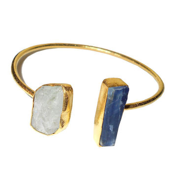 Crystal Quartz Bracelets, Blue Kyanite Bangle, Handmade Bracelet, Gemstone Bangle, Designer Bangle, Gold Vermeil Cuff , Open Bangle Bracelet