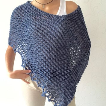 Knit wool poncho, knit poncho sweater, soft warm poncho, denim knitwear, wool cozy wrap, denim cover, loose knitting, winter poncho top