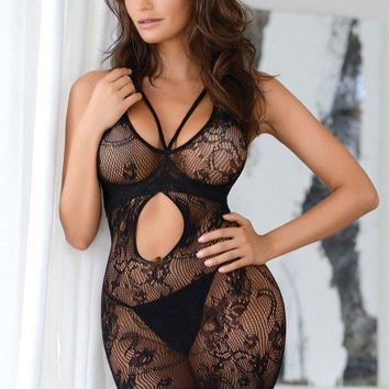 Women's Figure-Hugging Lace Mini Dress Body Stocking