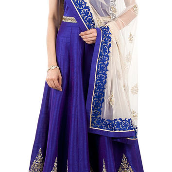 Royal blue color long anarkali salwar kameez