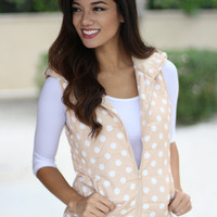 Beige Polka Dot Hooded Vest