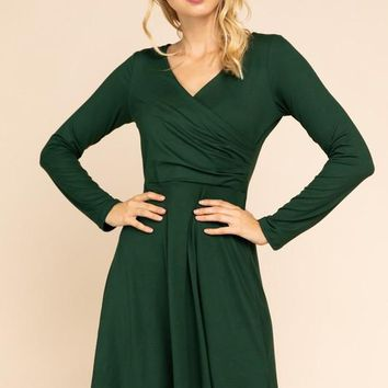 Flared Wrap Dress in Forest Green