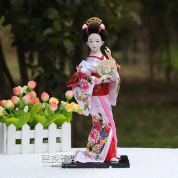 Free shipping Beautiful Hand made Sculptures craft 30cm Geisha Doll Novelty Gifts Souvenir  Japanese craft for home decoration