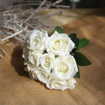 Bouquet Artificial Rose Flowers Home Garden Decoration