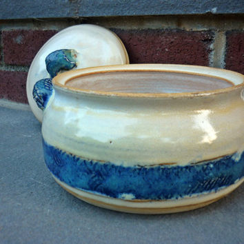 Pottery Casserole with Lid, Lidded Serving Bowl, Bakeware, Cream and Blue
