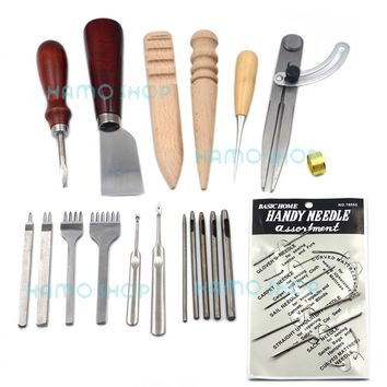 Leather Craft 11Set Kit Sewing Tool Awl Hand Stitching Punch Hole Needle Working