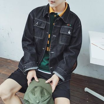 Autumn New Japanese Fashion Trend Campus Wind Boys Wild Casual Loose-selling Models Cotton Denim Jacket