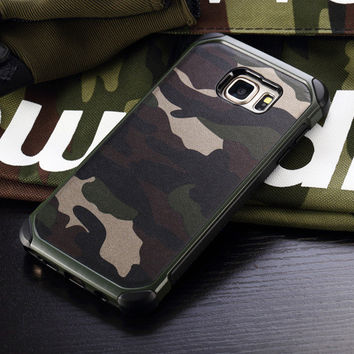 2016 New Army Camo Camouflage Pattern TPU + PC 2 in1 Armor Hard Leather Back Cover Protective Phone Case For Samsung s6 s5 note5
