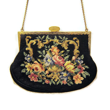 Petit Point Antique Purse Victorian Purse Tapestry Purse Vintage Purse Clutch Formal