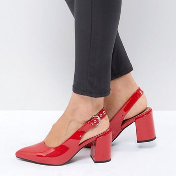 London Rebel High Vamp Sling Back Heel Shoe at asos.com