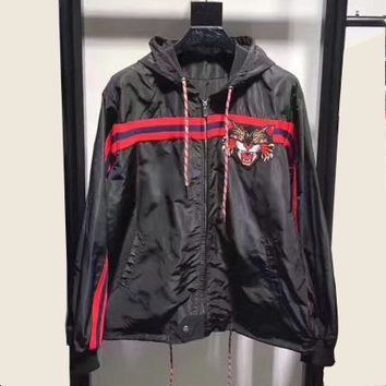 Gucci Women Man Fashion Tiger Embroidery Cardigan Jacket Coat Windbreaker
