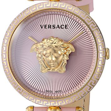 Versace Women's 'PALAZZO EMPIRE' Swiss Quartz Gold and Leather Casual Watch, Color:Pink (Model: VCO030017)