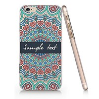 Supertrampshop - Mandala Floral Customized Text - Cover Iphone 6 6s Full Protection Durable Transparent Plastic Case (VAS564)