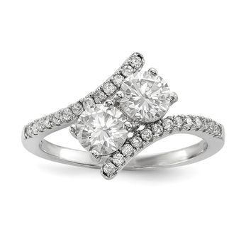 925 Sterling Silver Rhodium-plated Cubic Zirconia Two Stone Polished Bypass Ring